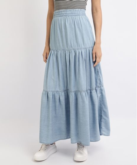 Saia-Jeans-Feminina-Midi-com-Recortes-Azul-Medio-9953807-Azul_Medio_1