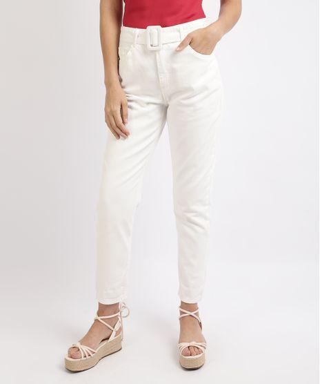 Calca-Jeans-Feminina-Mom-Cintura-Super-Alta-com-Cinto-Branca-9958720-Branco_1