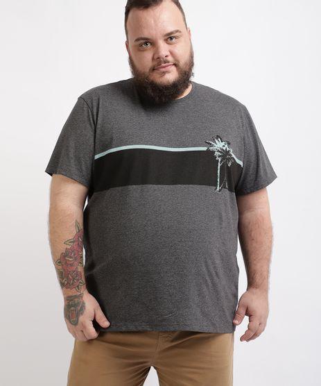 Camiseta-Masculina-Plus-Size-com-Listra-e-Coqueiro-Manga-Curta-Gola-Careca-Cinza-Mescla-Escuro-9960499-Cinza_Mescla_Escuro_1