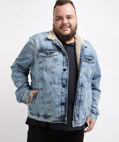 Jaqueta-Jeans-Masculina-Plus-Size-Trucker-com-Pelo--Azul-Claro-9960853-Azul_Claro_1