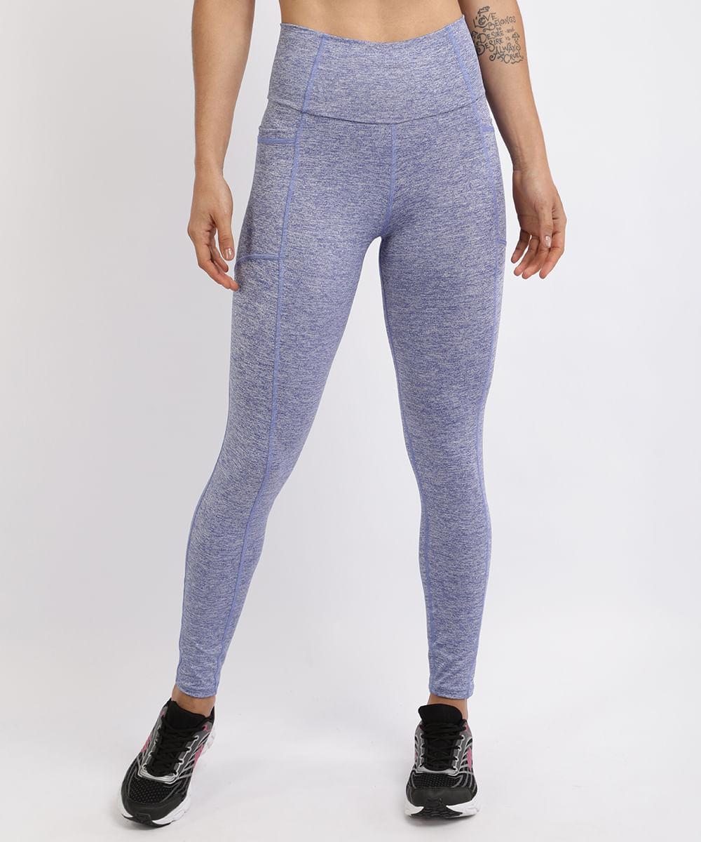 Calça Legging Feminina Esporte Ace com Recortes Azul