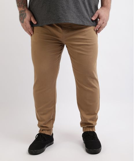Calca-de-Sarja-Masculina-Plus-Size-Jogger-Skinny-Bege-9962493-Bege_1