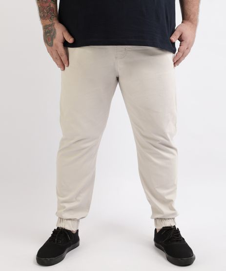 Calca-de-Sarja-Masculina-Plus-Size--Slim-Jogger--Bege-9962885-Bege_1
