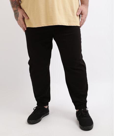 Calca-de-Sarja-Masculina-Plus-Size--Slim-Jogger--Preta-9962885-Preto_1