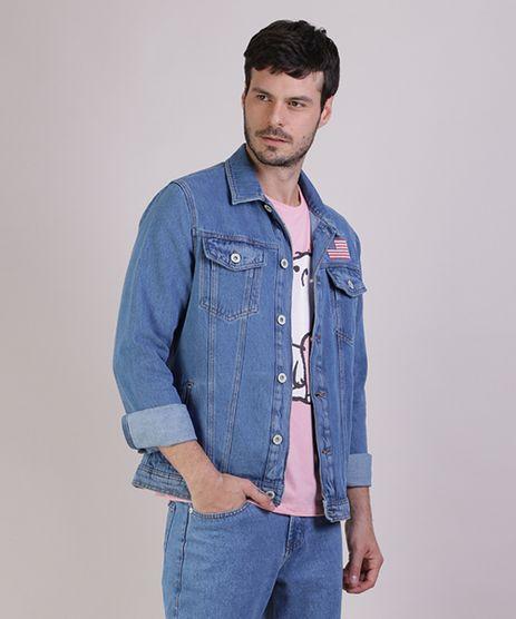 Jaqueta-Jeans-Masculina-NASA-Trucker-com-Bolsos-Manga-Longa-Azul-9943730-Azul_1