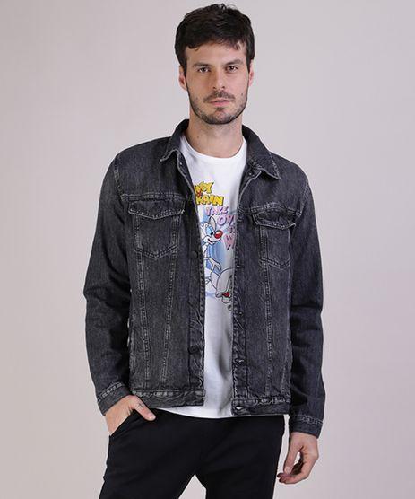 Jaqueta-Jeans-Masculina-Trucker-com-Bolsos-Manga-Longa-Preta-9944002-Preto_1