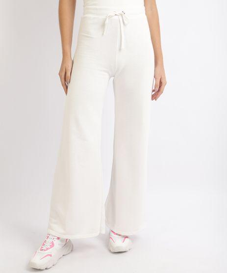 Calca-de-Moletom-Feminina-Pantalona-Cintura-Alta-Branca-9953387-Branco_1