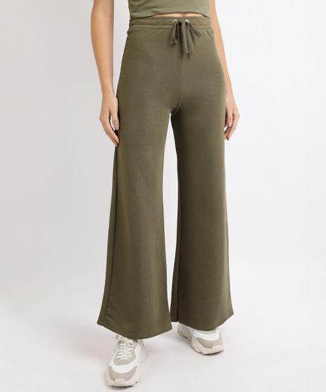 Calca-de-Moletom-Feminina-Pantalona-Cintura-Alta-Verde-9953387-Verde_1