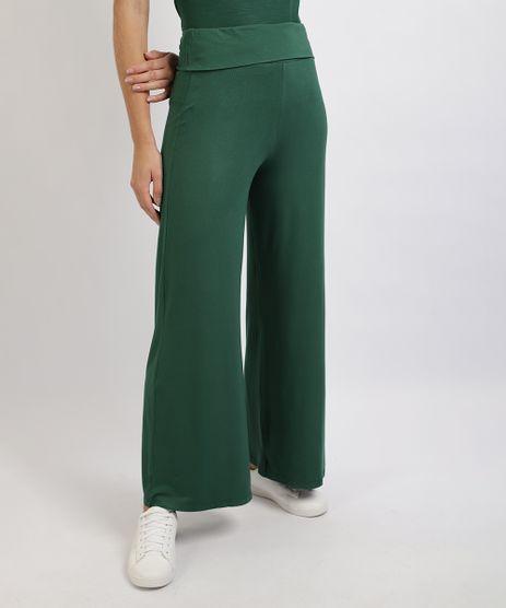 Calca-Feminina-Basica-Pantalona-Cintura-Alta-Cos-Dobrado-Verde-Escuro-9953149-Verde_Escuro_1