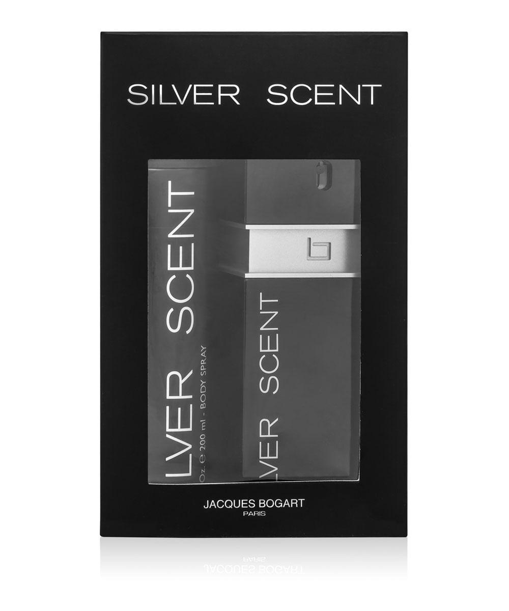 Kit Coffret Masculino Silver Scent Jacques Bogart Eau de Toilette 100ml + Body Spray 200ml Único