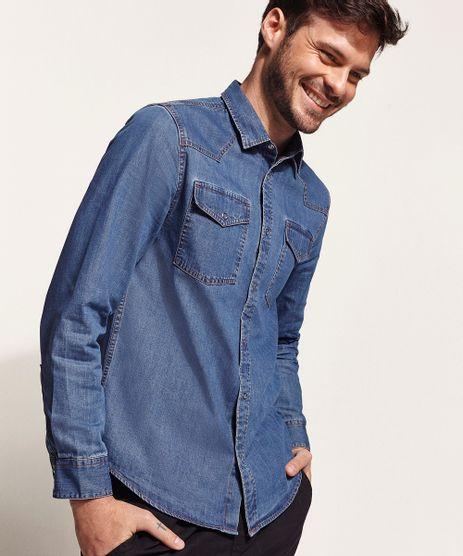 Camisa-Jeans-Masculina-Slim-com-Bolsos-e-Botoes-de-Pressao-Manga-Longa-Azul-Medio-9822072-Azul_Medio_1
