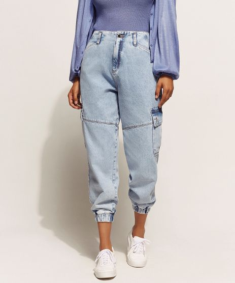 Calca-Jeans-Feminina-Baggy-Cintura-Super-Alta-Jogger-Cargo-Marmorizada-Azul-Claro-9961229-Azul_Claro_1