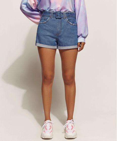 Short-Jeans-Feminino-Mom-Cintura-Super-Alta-com-Cinto-Azul-Medio-9960208-Azul_Medio_1
