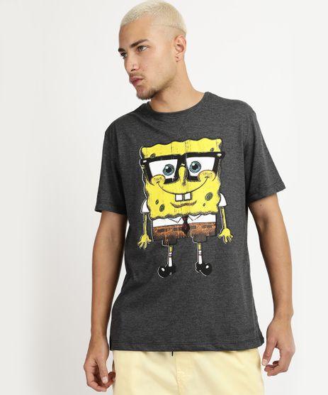 Camiseta-Masculina-Bob-Esponja-Manga-Curta-Decote-Careca-Cinza-9955439-Cinza_1