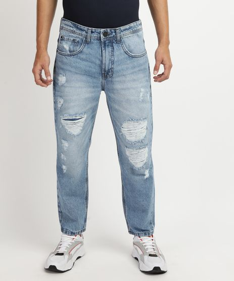 Calca-Jeans-Masculina-Tapered-Destroyed--Azul-9948771-Azul_1
