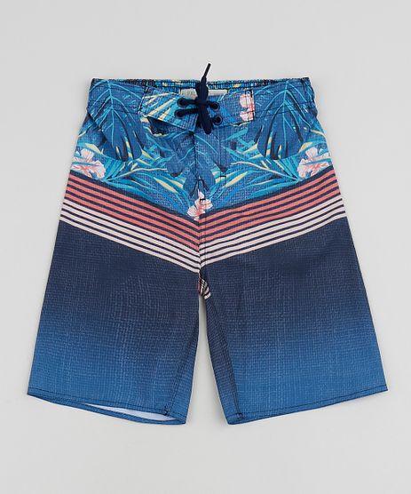 Bermuda-Surf-Infantil-Estampada-de-Folhagens-e-Listras-com-Cordao--Azul-Marinho-9954486-Azul_Marinho_1