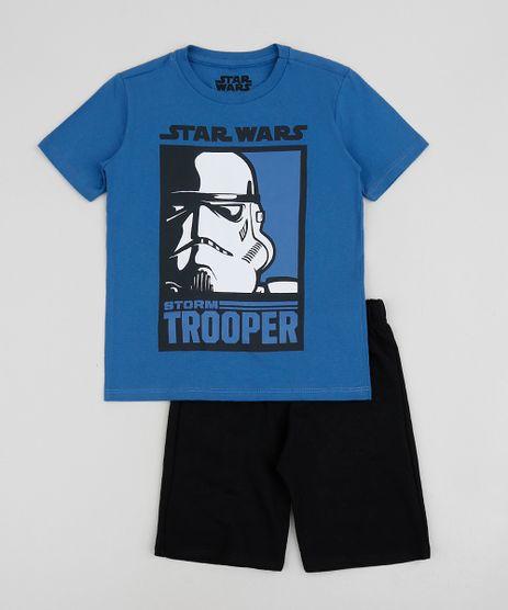 Conjunto-Infantil-Star-Wars-de-Camiseta-Manga-Curta---Short-em-Moletom-Azul-9954598-Azul_1