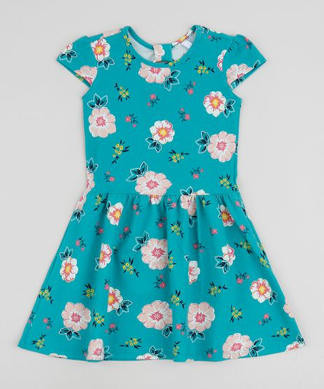 Vestido-Infantil-Estampado-Floral-Manga-Curta--Verde-9961594-Verde_1