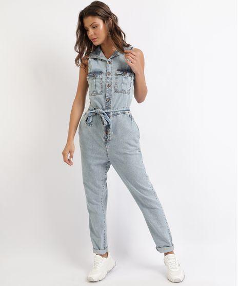 Macacao-Jeans-Feminino-com-Botoes-e-Faixa-para-Amarrar-Azul-9949658-Azul_1
