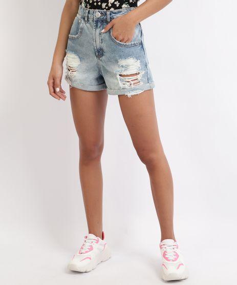Short-Jeans-Feminino-Mom-Destroyed-com-Bolsos-Azul-Claro-9960216-Azul_Claro_1
