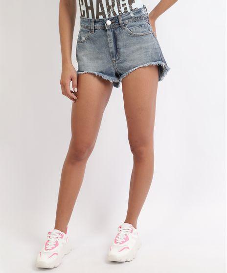 Short-Jeans-Feminino-Cintura-Alta-com-Barra-Desfiada-Azul-9960206-Azul_1