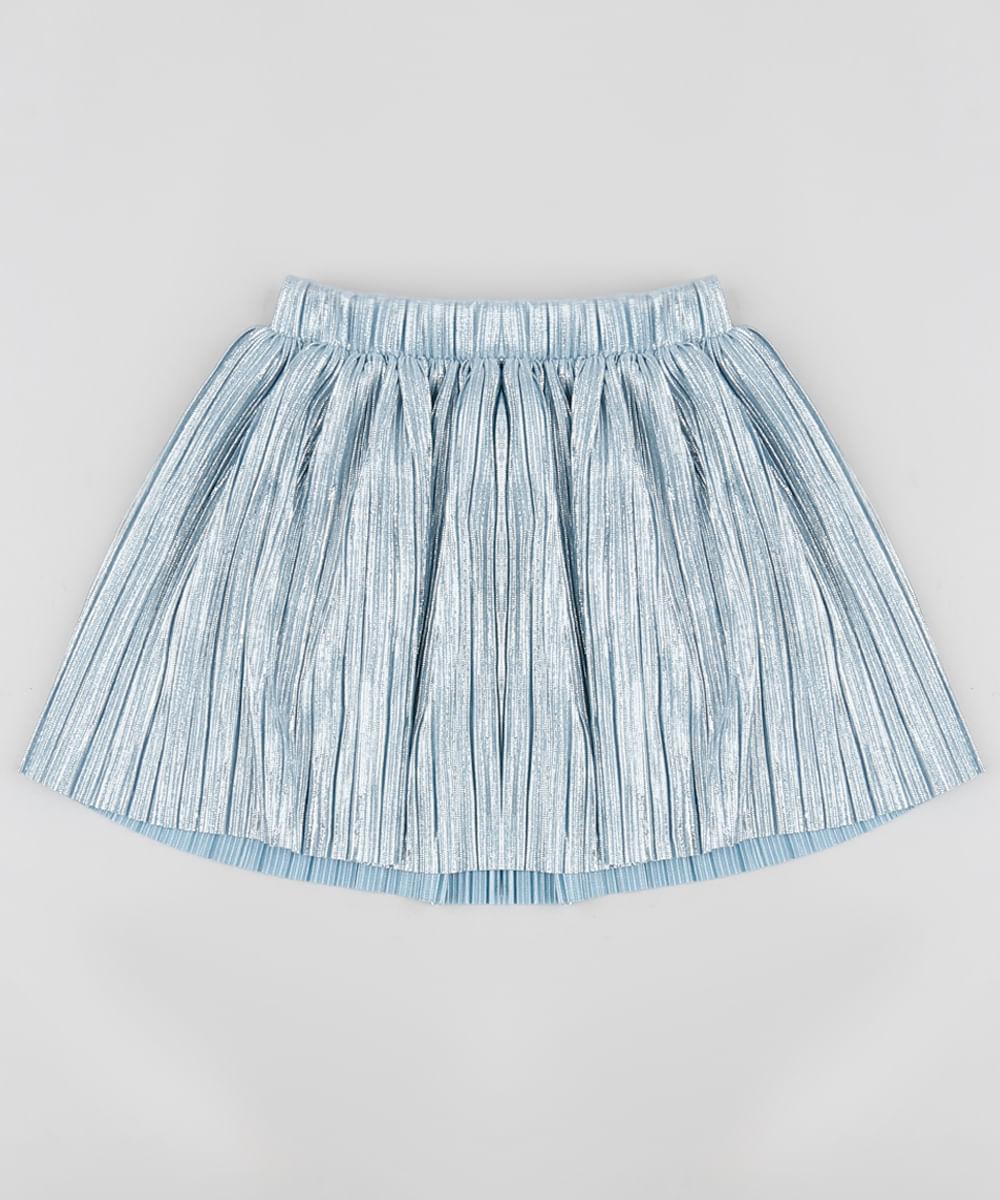 Saia Infantil Plissada Metalizada Azul