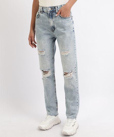 Calca-Jeans-Feminina-Reta-Destroyed-Cintura-Alta-Azul-9960020-Azul_1