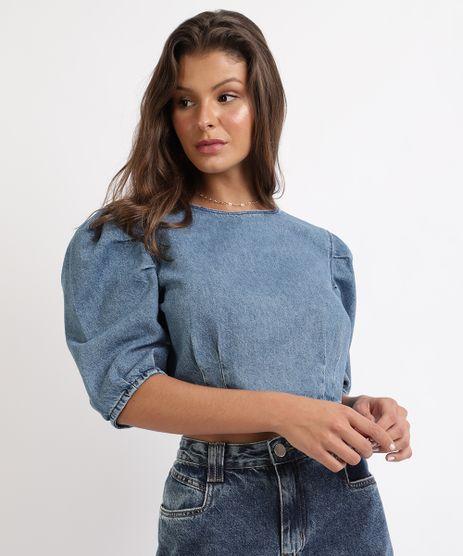 Blusa-Jeans-Feminina-Cropped-Mangas-Bufantes-Decote-Redondo-Azul-9961023-Azul_1