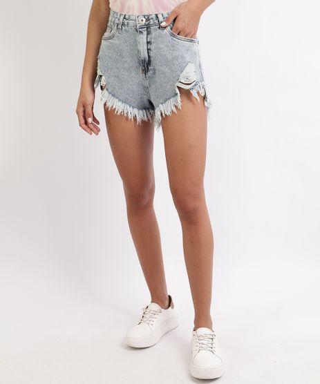 Short-Jeans-Feminino-Cintura-Super-Alta-Destroyed-com-Barra-Desfiada-Azul-Claro-9960545-Azul_Claro_1