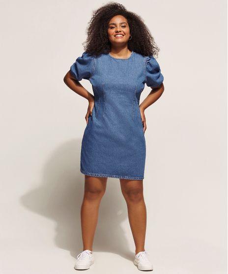 Vestido-Jeans-Feminino-Curto-com-Pences-Manga-Bufante-Azul-Medio-9960702-Azul_Medio_1