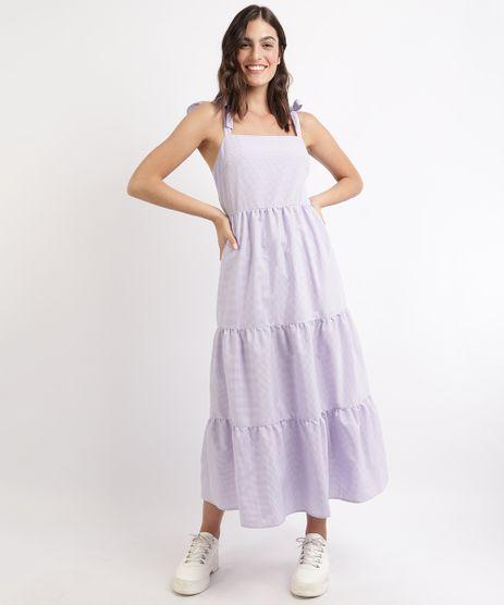Vestido-Feminino-Mindset-Midi-Estampado-Xadrez-Vichy-com-Recortes-Alca-Media-com-Laco-Lilas-9963101-Lilas_1