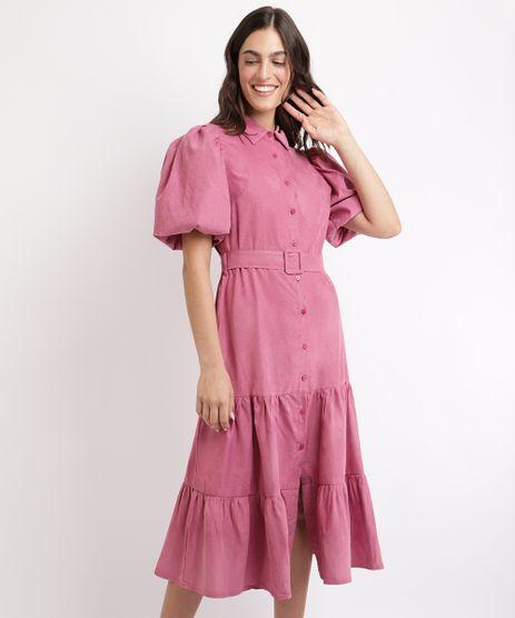 Vestido-Feminino-Mindset-Midi-com-Recortes-e-Cinto-Manga-Bufante-Rosa-9964132-Rosa_1