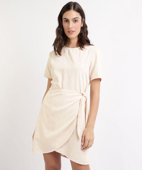 Vestido-Feminino-Mindset-Curto-com-Transpasse-e-No-Manga-Curta-Bege-Claro-9964407-Bege_Claro_1