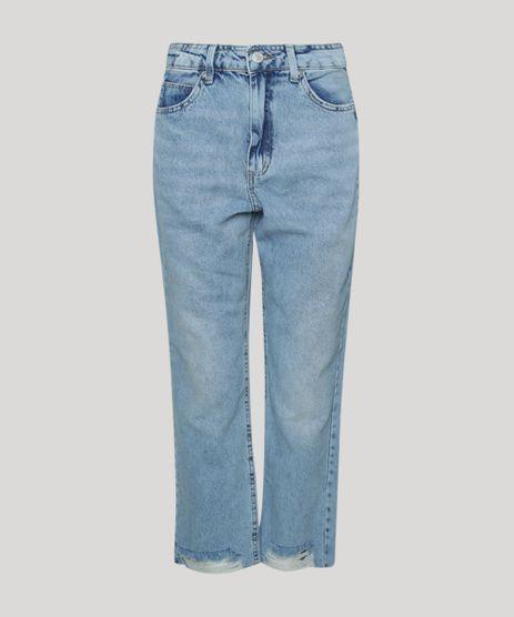Calca-Jeans-Feminina-Reta-Cintura-Alta-Marmorizada-Barra-a-Fio-com-Rasgos-Azul-Claro-9960207-Azul_Claro_1