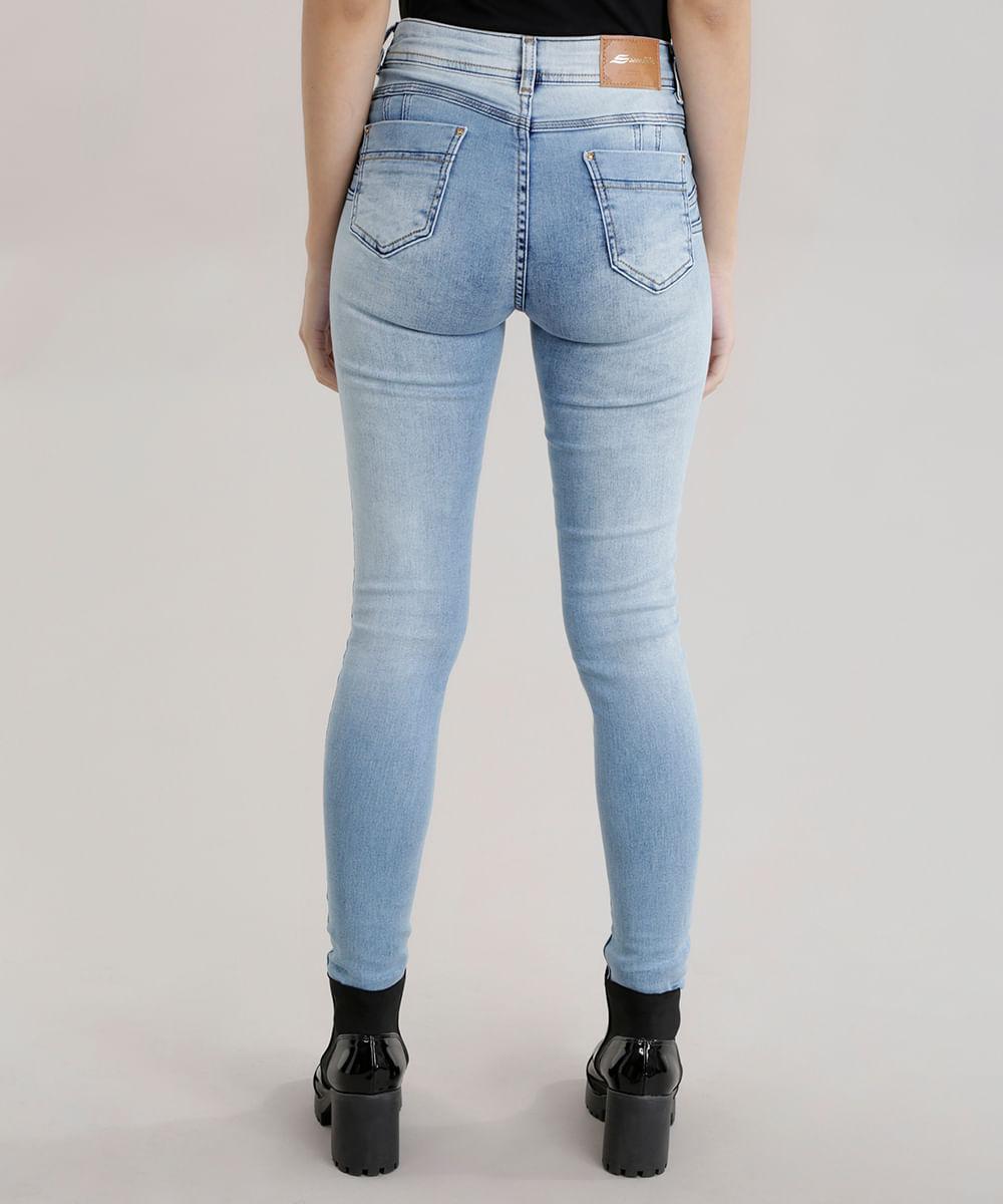 5a434388d Calça Jeans Super Skinny Sawary Levanta Bumbum Azul Claro - cea