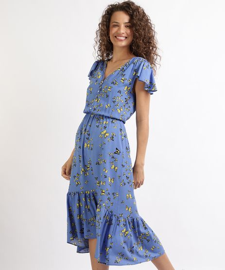 Vestido-Feminino-Midi-Estampado-de-Borboletas-com-Babado-Manga-Curta-Azul-9955193-Azul_1