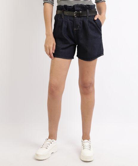 Short-Jeans-Feminino-Clochard-Cintura-Alta-com-Cinto-Azul-Escuro-9951800-Azul_Escuro_1