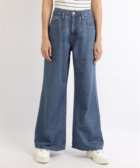 Calca-Jeans-Feminina-Pantalona-Cintura-Super-Alta-com-Pregas-Azul-9959990-Azul_1