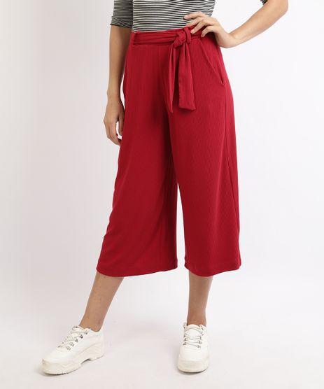 Calca-Feminina-Pantacourt-Canelada-com-Faixa-para-Amarrar-Cintura-Alta-Vermelha-9960806-Vermelho_1