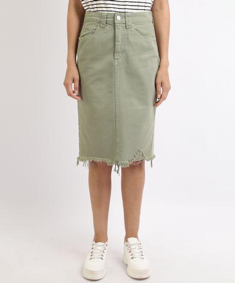 Saia-Jeans-Feminina-Midi-com-Fenda-e-Barra-Desfiada--Verde-9960255-Verde_1