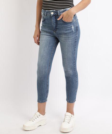 Calca-Jeans-Feminina-Cropped-com-Puidos-Cintura-Alta--Azul-9960649-Azul_1