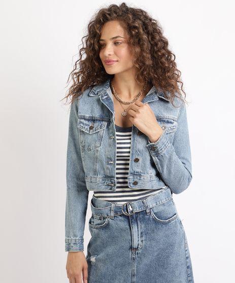 Jaqueta-Jeans-Feminina-Cropped-com-Bolsos--Azul-9960651-Azul_1