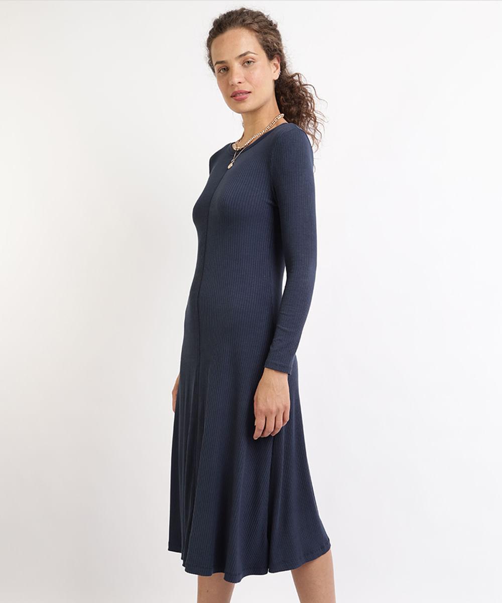 Vestido Feminino Midi Canelado Manga Longa Azul Marinho