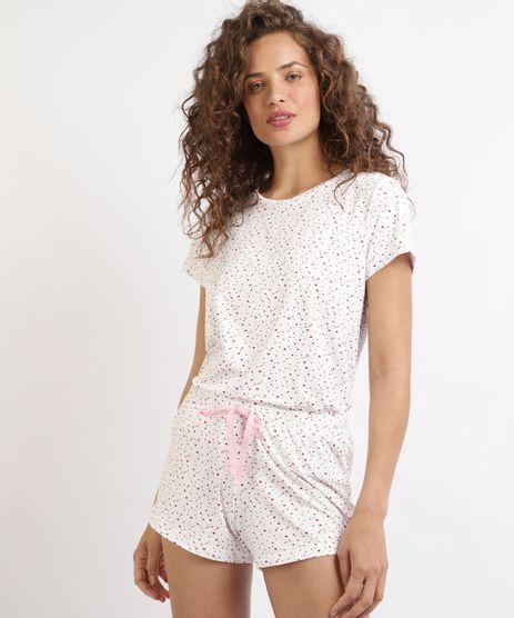 Pijama-Feminino-Estampado-de-Coracoes-Manga-Curta-Decote-Redondo-Branca-9958303-Branco_1