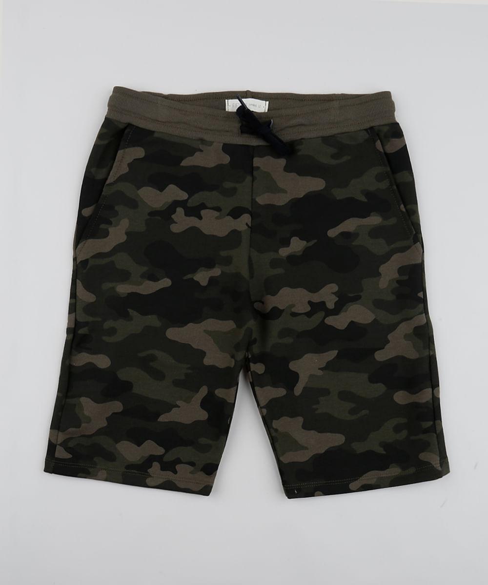 Bermuda Juvenil Estampada Camuflada com Bolsos Verde Militar