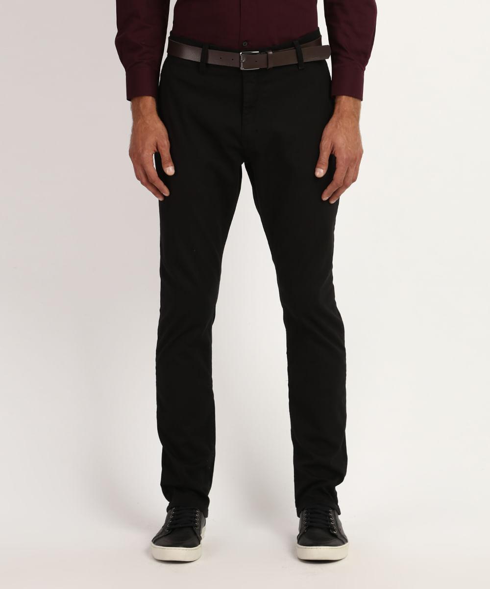 Calça de Sarja Masculina Chino Slim com Cinto Preto
