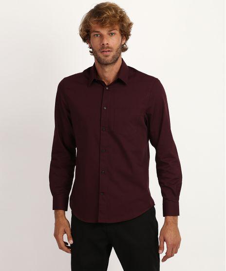 Camisa-Masculina-Comfort-Manga-Longa-Vinho-9813560-Vinho_1