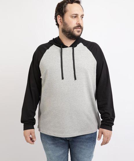 Camiseta-de-Piquet-Masculina-Plus-Size-Raglan-com-Capuz-Manga-Longa-Cinza-Mescla-9962363-Cinza_Mescla_1