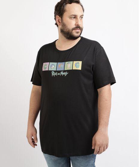 Camiseta-Masculina-Plus-Size-Rick-and-Morty-Manga-Curta-Gola-Careca-Preta-9962588-Preto_1