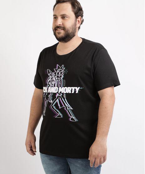 Camiseta-Masculina-Plus-Size-Rick-and-Morty-Manga-Curta-Gola-Careca-Preta-9962589-Preto_1